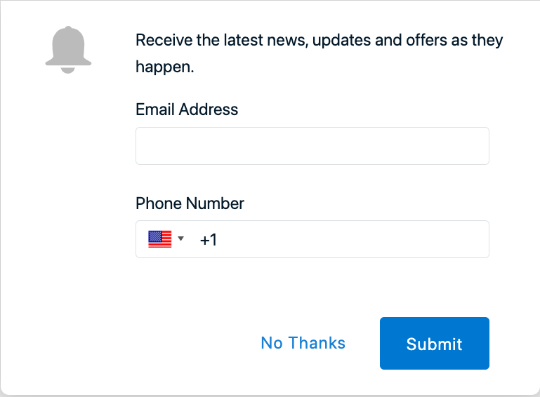 OneSignal email and phone number prompt